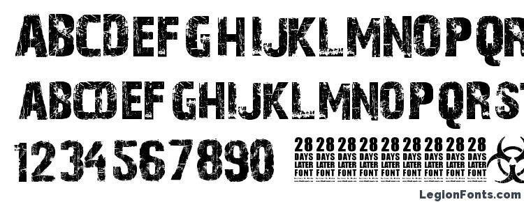 glyphs 28 Days Later font, сharacters 28 Days Later font, symbols 28 Days Later font, character map 28 Days Later font, preview 28 Days Later font, abc 28 Days Later font, 28 Days Later font