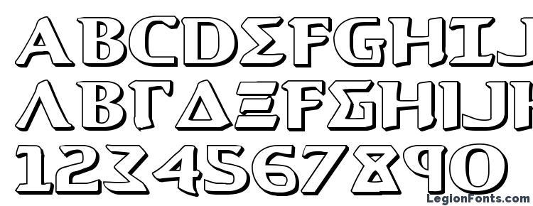 glyphs Aegis 3D font, сharacters Aegis 3D font, symbols Aegis 3D font, character map Aegis 3D font, preview Aegis 3D font, abc Aegis 3D font, Aegis 3D font