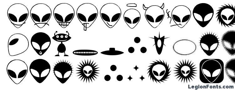 глифы шрифта Alienator, символы шрифта Alienator, символьная карта шрифта Alienator, предварительный просмотр шрифта Alienator, алфавит шрифта Alienator, шрифт Alienator
