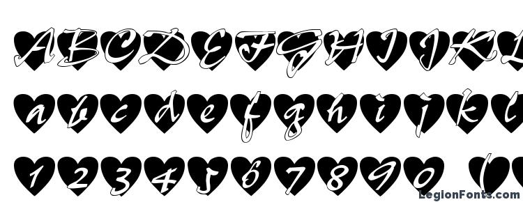 glyphs All Hearts font, сharacters All Hearts font, symbols All Hearts font, character map All Hearts font, preview All Hearts font, abc All Hearts font, All Hearts font