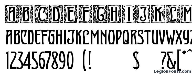 глифы шрифта Art Nouveau Initial, символы шрифта Art Nouveau Initial, символьная карта шрифта Art Nouveau Initial, предварительный просмотр шрифта Art Nouveau Initial, алфавит шрифта Art Nouveau Initial, шрифт Art Nouveau Initial