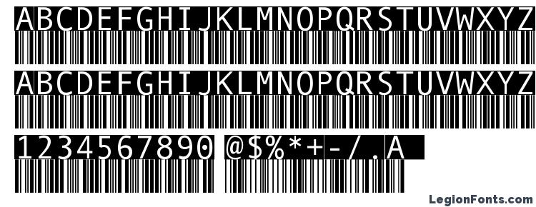 глифы шрифта Barmkode inverse, символы шрифта Barmkode inverse, символьная карта шрифта Barmkode inverse, предварительный просмотр шрифта Barmkode inverse, алфавит шрифта Barmkode inverse, шрифт Barmkode inverse