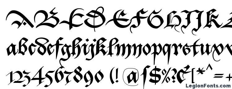 глифы шрифта Bastarda K, символы шрифта Bastarda K, символьная карта шрифта Bastarda K, предварительный просмотр шрифта Bastarda K, алфавит шрифта Bastarda K, шрифт Bastarda K
