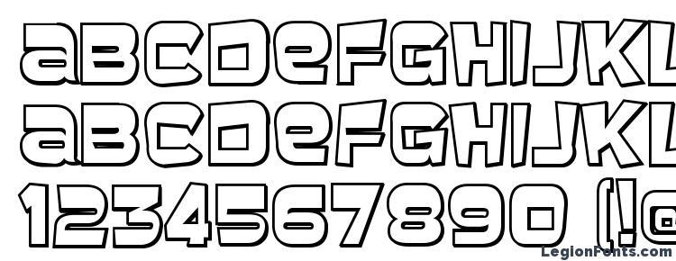 glyphs Baveuse 3D font, сharacters Baveuse 3D font, symbols Baveuse 3D font, character map Baveuse 3D font, preview Baveuse 3D font, abc Baveuse 3D font, Baveuse 3D font