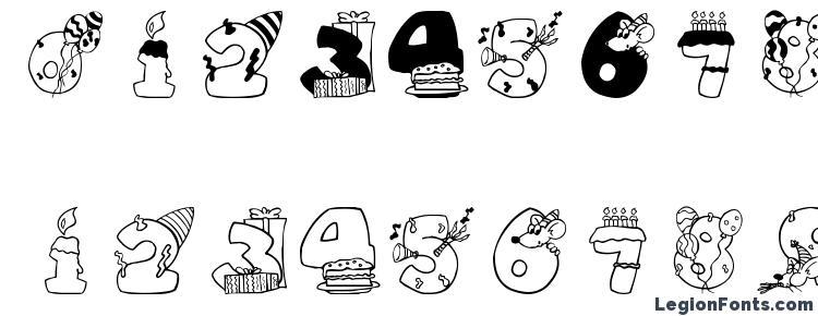 глифы шрифта Birthdaydigits, символы шрифта Birthdaydigits, символьная карта шрифта Birthdaydigits, предварительный просмотр шрифта Birthdaydigits, алфавит шрифта Birthdaydigits, шрифт Birthdaydigits
