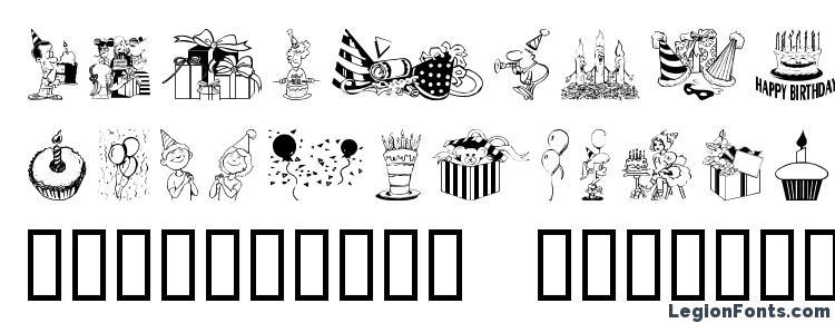 glyphs Birthdaze font, сharacters Birthdaze font, symbols Birthdaze font, character map Birthdaze font, preview Birthdaze font, abc Birthdaze font, Birthdaze font