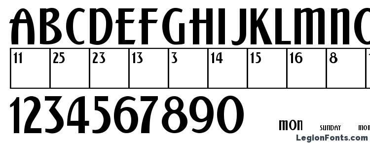 glyphs Calendar Normal font, сharacters Calendar Normal font, symbols Calendar Normal font, character map Calendar Normal font, preview Calendar Normal font, abc Calendar Normal font, Calendar Normal font