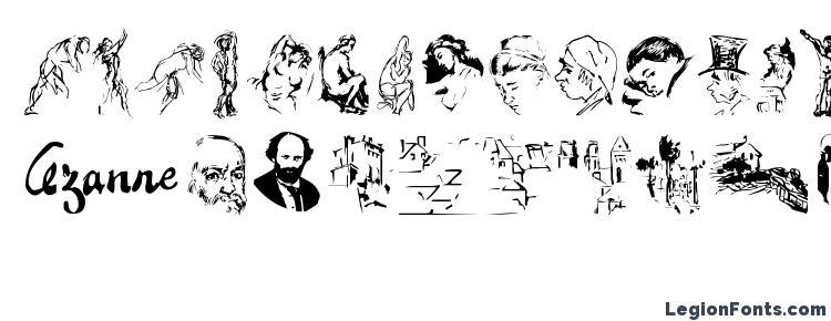 глифы шрифта CezanneSketches, символы шрифта CezanneSketches, символьная карта шрифта CezanneSketches, предварительный просмотр шрифта CezanneSketches, алфавит шрифта CezanneSketches, шрифт CezanneSketches