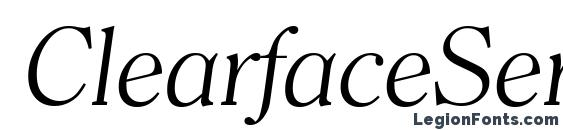 Шрифт ClearfaceSerial Light Italic