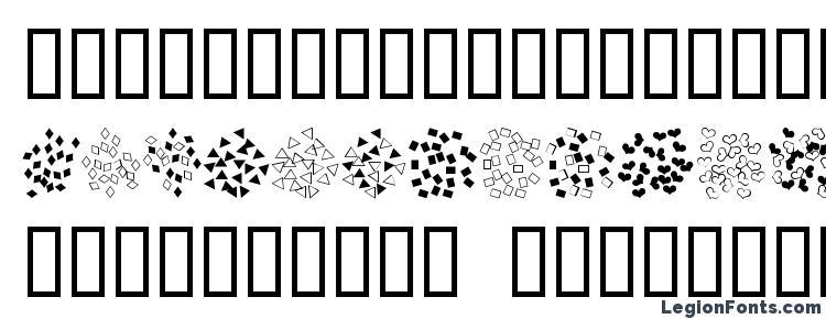 глифы шрифта Confetti, символы шрифта Confetti, символьная карта шрифта Confetti, предварительный просмотр шрифта Confetti, алфавит шрифта Confetti, шрифт Confetti