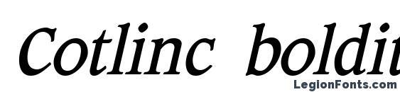 шрифт Cotlinc bolditalic, бесплатный шрифт Cotlinc bolditalic, предварительный просмотр шрифта Cotlinc bolditalic
