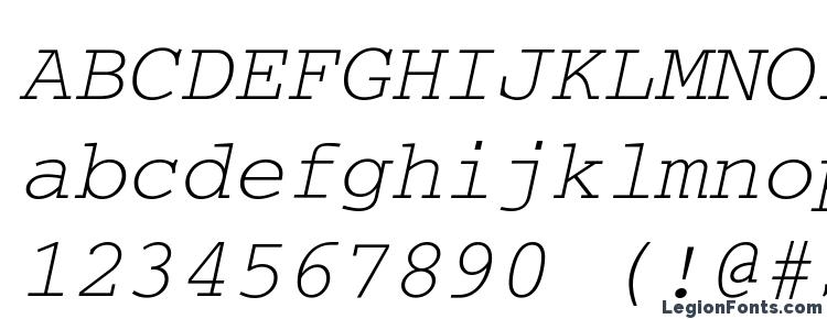 глифы шрифта CourierWINCTT Italic, символы шрифта CourierWINCTT Italic, символьная карта шрифта CourierWINCTT Italic, предварительный просмотр шрифта CourierWINCTT Italic, алфавит шрифта CourierWINCTT Italic, шрифт CourierWINCTT Italic
