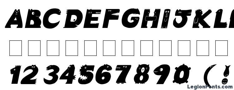 glyphs Crazy Creatures Bold Italic font, сharacters Crazy Creatures Bold Italic font, symbols Crazy Creatures Bold Italic font, character map Crazy Creatures Bold Italic font, preview Crazy Creatures Bold Italic font, abc Crazy Creatures Bold Italic font, Crazy Creatures Bold Italic font