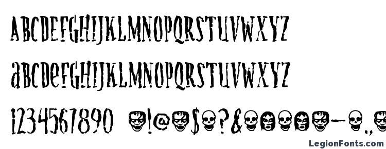 глифы шрифта Creature, символы шрифта Creature, символьная карта шрифта Creature, предварительный просмотр шрифта Creature, алфавит шрифта Creature, шрифт Creature