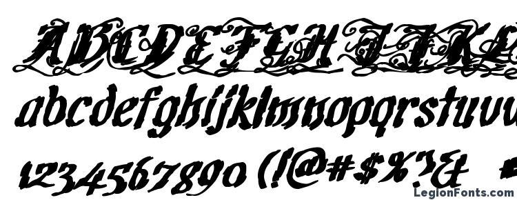 глифы шрифта CretinoInk, символы шрифта CretinoInk, символьная карта шрифта CretinoInk, предварительный просмотр шрифта CretinoInk, алфавит шрифта CretinoInk, шрифт CretinoInk