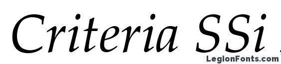Шрифт Criteria SSi Italic