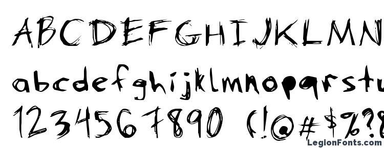 глифы шрифта DANimal, символы шрифта DANimal, символьная карта шрифта DANimal, предварительный просмотр шрифта DANimal, алфавит шрифта DANimal, шрифт DANimal