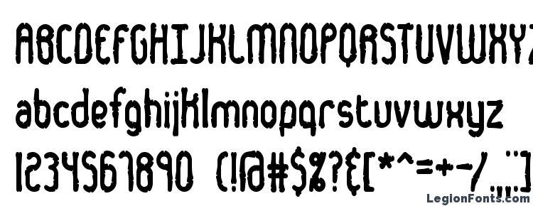 глифы шрифта Dented BRK, символы шрифта Dented BRK, символьная карта шрифта Dented BRK, предварительный просмотр шрифта Dented BRK, алфавит шрифта Dented BRK, шрифт Dented BRK