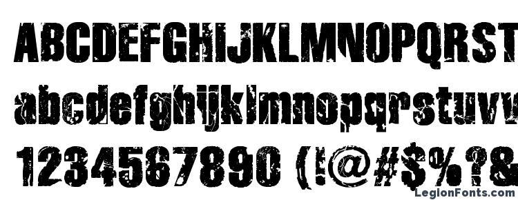 глифы шрифта Disintegration, символы шрифта Disintegration, символьная карта шрифта Disintegration, предварительный просмотр шрифта Disintegration, алфавит шрифта Disintegration, шрифт Disintegration