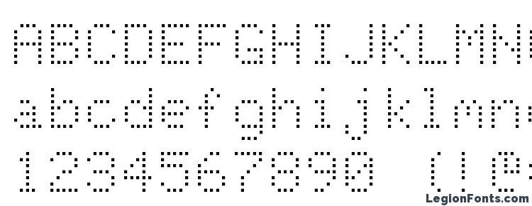 глифы шрифта Dot Matrix Normal, символы шрифта Dot Matrix Normal, символьная карта шрифта Dot Matrix Normal, предварительный просмотр шрифта Dot Matrix Normal, алфавит шрифта Dot Matrix Normal, шрифт Dot Matrix Normal