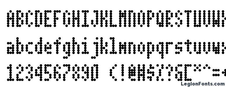 глифы шрифта Dotimatrix 3, символы шрифта Dotimatrix 3, символьная карта шрифта Dotimatrix 3, предварительный просмотр шрифта Dotimatrix 3, алфавит шрифта Dotimatrix 3, шрифт Dotimatrix 3