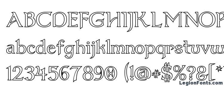 глифы шрифта Dumbledor 1 Outline, символы шрифта Dumbledor 1 Outline, символьная карта шрифта Dumbledor 1 Outline, предварительный просмотр шрифта Dumbledor 1 Outline, алфавит шрифта Dumbledor 1 Outline, шрифт Dumbledor 1 Outline