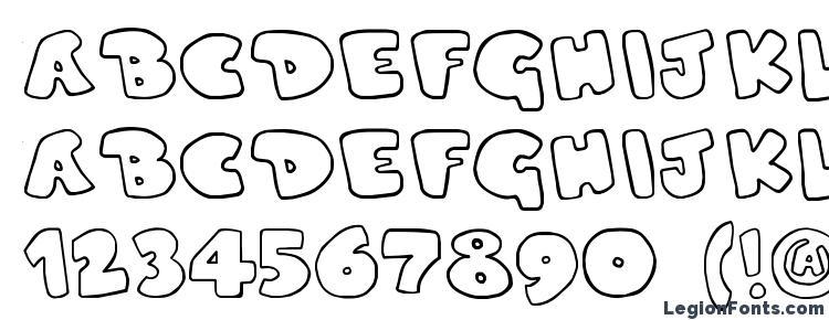 глифы шрифта Duped, символы шрифта Duped, символьная карта шрифта Duped, предварительный просмотр шрифта Duped, алфавит шрифта Duped, шрифт Duped