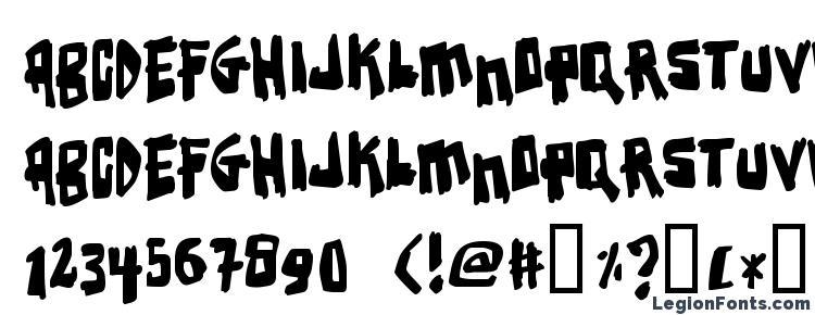 глифы шрифта Earthquake, символы шрифта Earthquake, символьная карта шрифта Earthquake, предварительный просмотр шрифта Earthquake, алфавит шрифта Earthquake, шрифт Earthquake