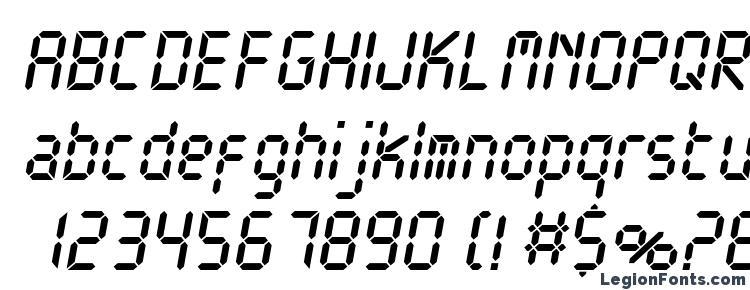 глифы шрифта Electronicac italic, символы шрифта Electronicac italic, символьная карта шрифта Electronicac italic, предварительный просмотр шрифта Electronicac italic, алфавит шрифта Electronicac italic, шрифт Electronicac italic