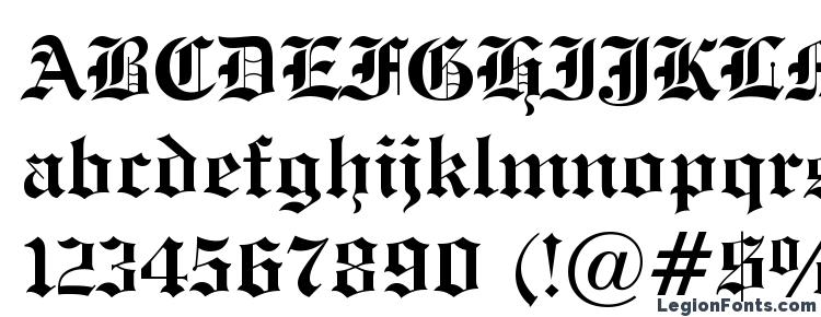 Glyphs Engravers Old English Bold BT Font Haracters
