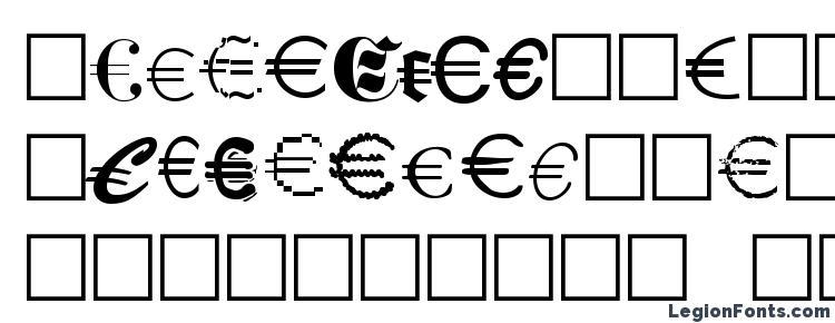 глифы шрифта Euro Collection, символы шрифта Euro Collection, символьная карта шрифта Euro Collection, предварительный просмотр шрифта Euro Collection, алфавит шрифта Euro Collection, шрифт Euro Collection