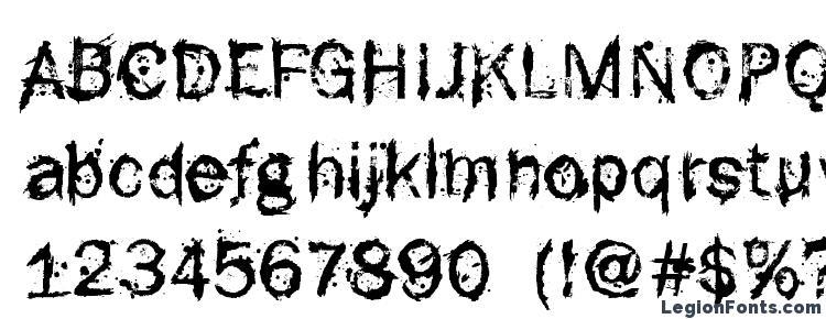 глифы шрифта F rotten font, символы шрифта F rotten font, символьная карта шрифта F rotten font, предварительный просмотр шрифта F rotten font, алфавит шрифта F rotten font, шрифт F rotten font