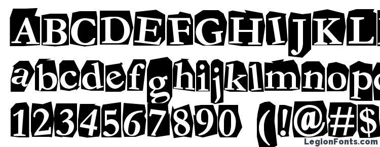 глифы шрифта Fanzine, символы шрифта Fanzine, символьная карта шрифта Fanzine, предварительный просмотр шрифта Fanzine, алфавит шрифта Fanzine, шрифт Fanzine