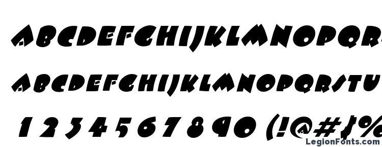 глифы шрифта Fatso italic, символы шрифта Fatso italic, символьная карта шрифта Fatso italic, предварительный просмотр шрифта Fatso italic, алфавит шрифта Fatso italic, шрифт Fatso italic