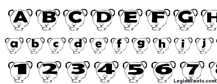 глифы шрифта Ferret head normal, символы шрифта Ferret head normal, символьная карта шрифта Ferret head normal, предварительный просмотр шрифта Ferret head normal, алфавит шрифта Ferret head normal, шрифт Ferret head normal