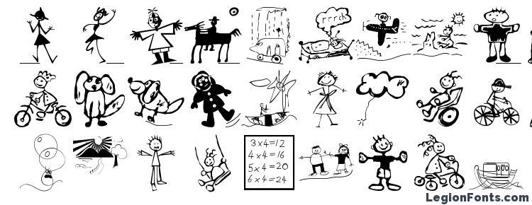 глифы шрифта Forkids, символы шрифта Forkids, символьная карта шрифта Forkids, предварительный просмотр шрифта Forkids, алфавит шрифта Forkids, шрифт Forkids