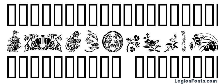 глифы шрифта GE Japanese Art, символы шрифта GE Japanese Art, символьная карта шрифта GE Japanese Art, предварительный просмотр шрифта GE Japanese Art, алфавит шрифта GE Japanese Art, шрифт GE Japanese Art