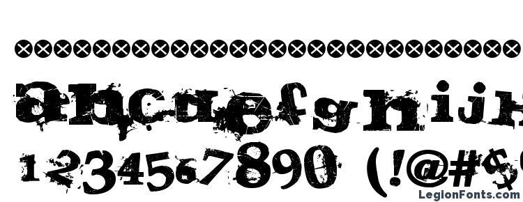 глифы шрифта Guilty, символы шрифта Guilty, символьная карта шрифта Guilty, предварительный просмотр шрифта Guilty, алфавит шрифта Guilty, шрифт Guilty