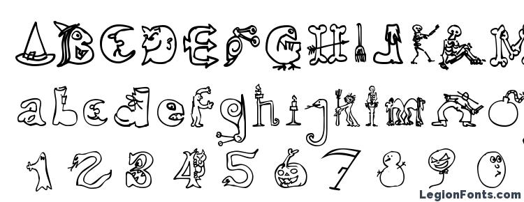 glyphs Halloween Unregistered font, сharacters Halloween Unregistered font, symbols Halloween Unregistered font, character map Halloween Unregistered font, preview Halloween Unregistered font, abc Halloween Unregistered font, Halloween Unregistered font