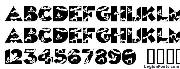 глифы шрифта Halloweenkiddyfont, символы шрифта Halloweenkiddyfont, символьная карта шрифта Halloweenkiddyfont, предварительный просмотр шрифта Halloweenkiddyfont, алфавит шрифта Halloweenkiddyfont, шрифт Halloweenkiddyfont