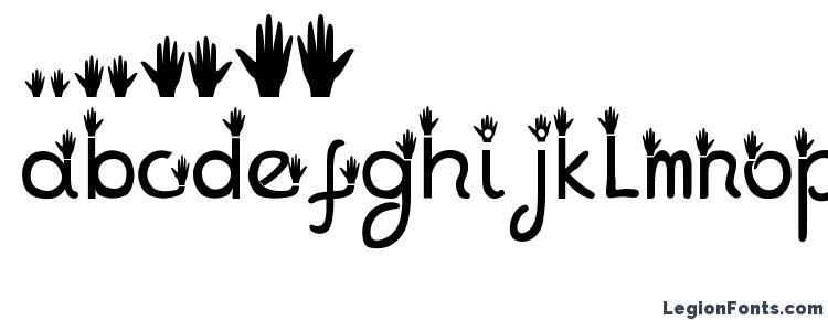 глифы шрифта Hands, символы шрифта Hands, символьная карта шрифта Hands, предварительный просмотр шрифта Hands, алфавит шрифта Hands, шрифт Hands