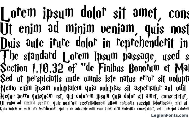 specimens Harry P font, sample Harry P font, an example of writing Harry P font, review Harry P font, preview Harry P font, Harry P font