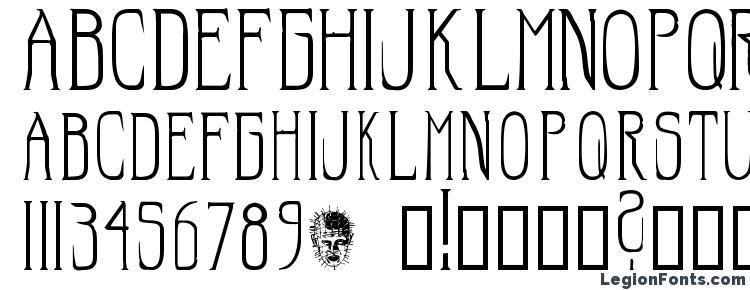 glyphs Hellraiser SC font, сharacters Hellraiser SC font, symbols Hellraiser SC font, character map Hellraiser SC font, preview Hellraiser SC font, abc Hellraiser SC font, Hellraiser SC font