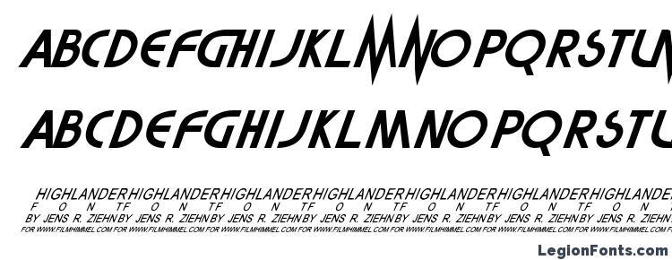 глифы шрифта Highlander, символы шрифта Highlander, символьная карта шрифта Highlander, предварительный просмотр шрифта Highlander, алфавит шрифта Highlander, шрифт Highlander