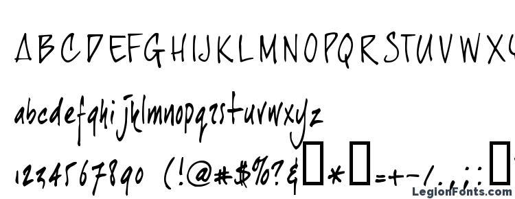 глифы шрифта Joehand, символы шрифта Joehand, символьная карта шрифта Joehand, предварительный просмотр шрифта Joehand, алфавит шрифта Joehand, шрифт Joehand