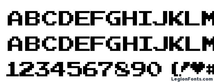 glyphs Joystix font, сharacters Joystix font, symbols Joystix font, character map Joystix font, preview Joystix font, abc Joystix font, Joystix font