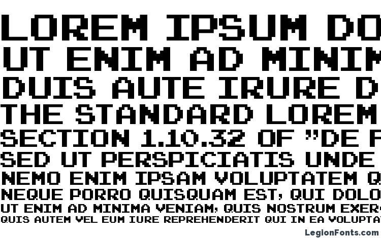 specimens Joystix font, sample Joystix font, an example of writing Joystix font, review Joystix font, preview Joystix font, Joystix font