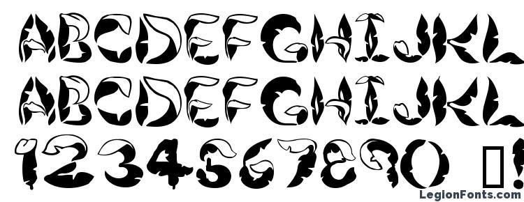 глифы шрифта JungleLeaves, символы шрифта JungleLeaves, символьная карта шрифта JungleLeaves, предварительный просмотр шрифта JungleLeaves, алфавит шрифта JungleLeaves, шрифт JungleLeaves
