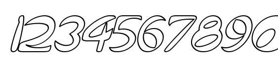 Qurve Hollow Italic Font, Number Fonts