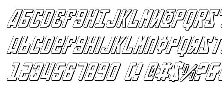 глифы шрифта Soviet 3D Italic, символы шрифта Soviet 3D Italic, символьная карта шрифта Soviet 3D Italic, предварительный просмотр шрифта Soviet 3D Italic, алфавит шрифта Soviet 3D Italic, шрифт Soviet 3D Italic